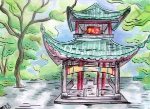 Chinese Pagoda Sketch