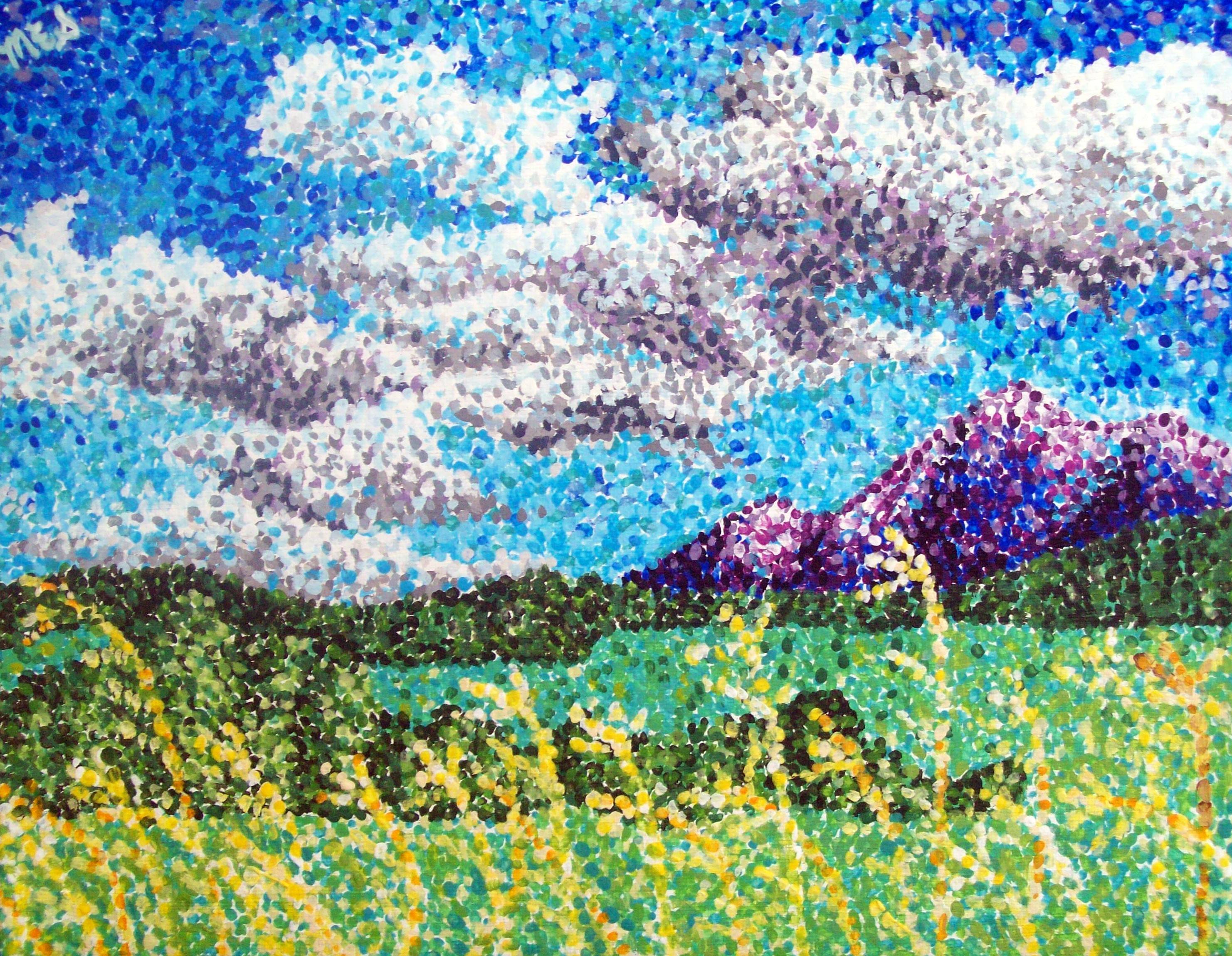 pointillism landscape artistic imaginings