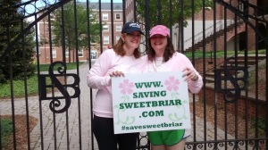My aunt and my mother in front of the Sweet Briar gates